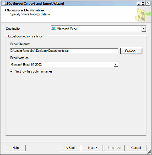 sSQLServer SQLServerChooseDest 090314 mobile The SQL Server Import and Export Wizard how to guide