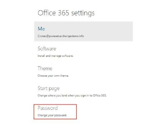 Change your password in Office 365 Settings