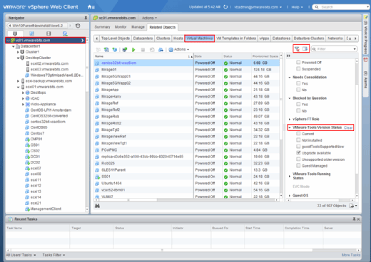 Quick Filters in vSphere Web Client