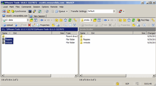 productLocker folder copied with WinSCP