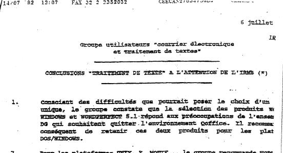 EC Sec Gen Committee Recommends Microsoft and WordPerfect desktops - 6 JUL 1992 - Splash.png