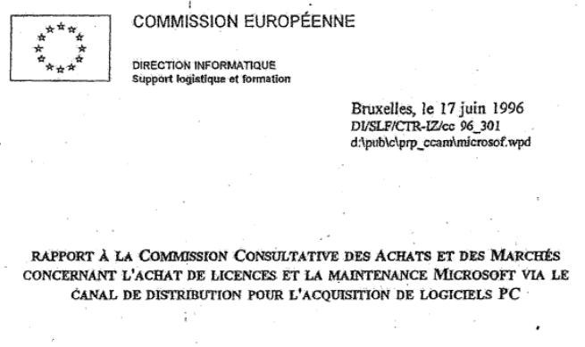 European Commission Report On Procurement And Contracts To Purchase Microsoft Licenses - 17 JUN 1996 - splash.png