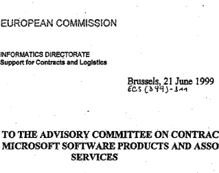 EC Informatics - Report to Advisory Committee on Contracts concerning Microsoft - 21 JUN 1999 - Splash.png