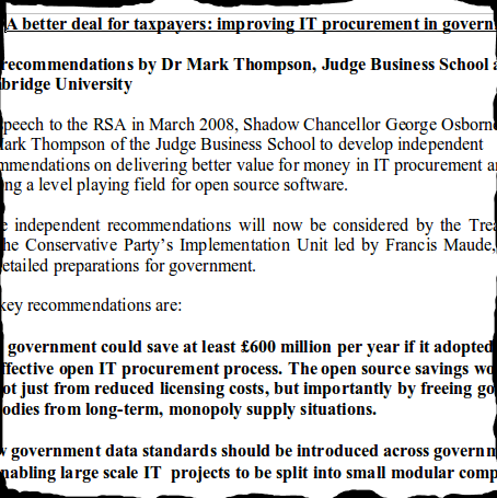 Conservative Open Source Report Summary - Front Page - Mark Thompson - 27 JAN 2009.png