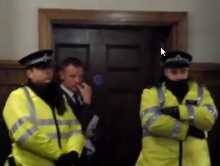 Barnet council Cabinet meeting flees from protesters to panic room - 6 DEC 2012.png