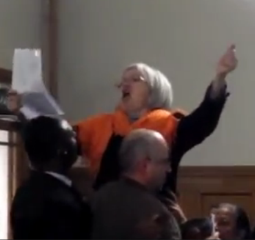 Little grey-haired old lady going mental diairner Barnet council offices - 6 DEC 2012.png