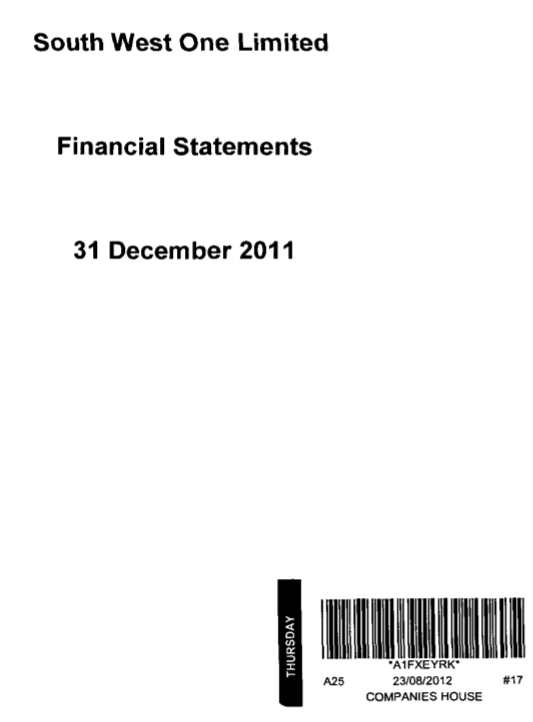 Southwest One - Accounts - 2011 - Front Sheet.png