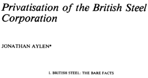 Privatisation of the British Steel Corporation - Jonathan Aylan - Salford - 1988 - Fiscal Studies.png