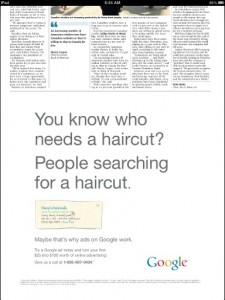 Google newspaper ad