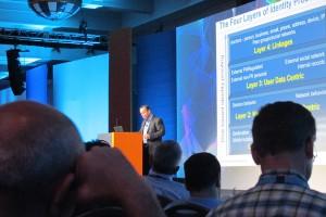 Investigative reporter Brian Krebs speaks at the Gartner Symposium ITxpo in Orlando, Fla., on Sunday.
