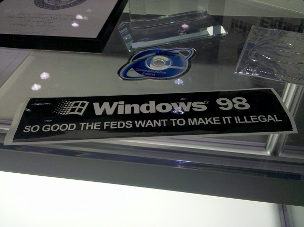 Windows 98 bumper sticker, seen at Microsoft TechEd 2012