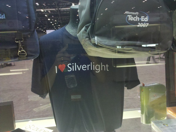"An ""I heart Silverlight"" t-shirt, seen at Microsoft TechEd 2012"