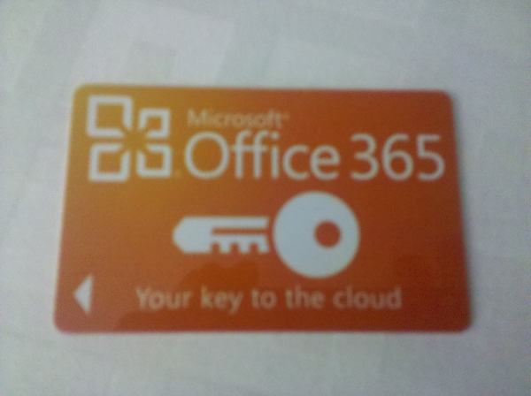 A hotel key featuring an ad for Office 365 at Microsoft TechEd 2012