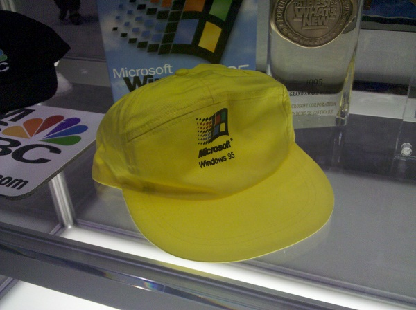 A Windows 95 hat, seen at Microsoft TechEd 2012