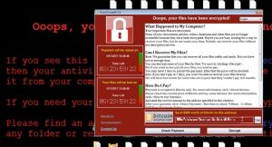 A screenshot shows the message the WannaCry ransomware displays after it has encrypted the user's files. The Windows ransomware requests $300 in bitcoin to decrypt the files.