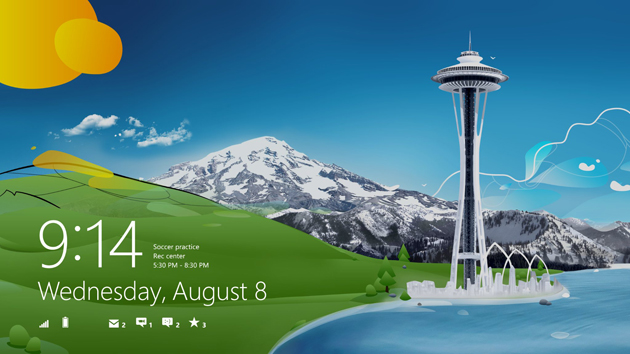 Image of Windows 8 RTM default lock screen