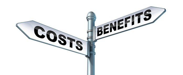 Image of cost-benefit signs pointing in different directions