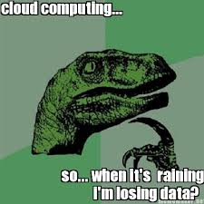 Image of dinosaur thinking about cloud computing
