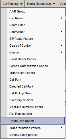 CM Call Routing Menu