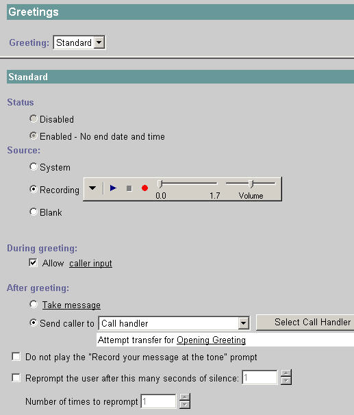 Greeting Settings