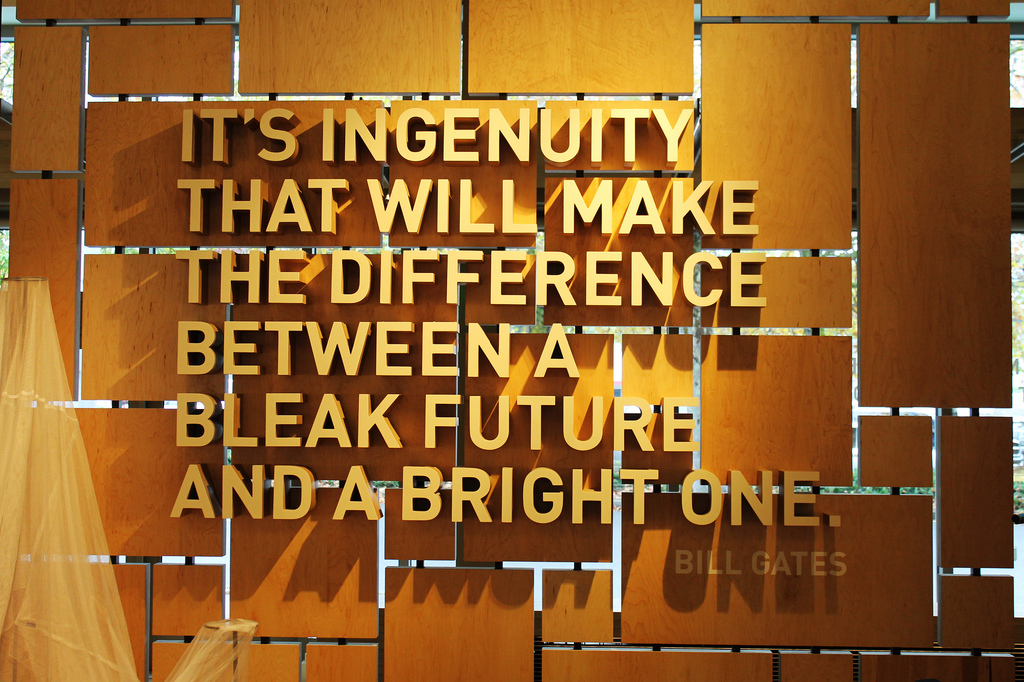 Bill Gates quote: It's ingenuity that will make the difference between a bleak future and a bright one.