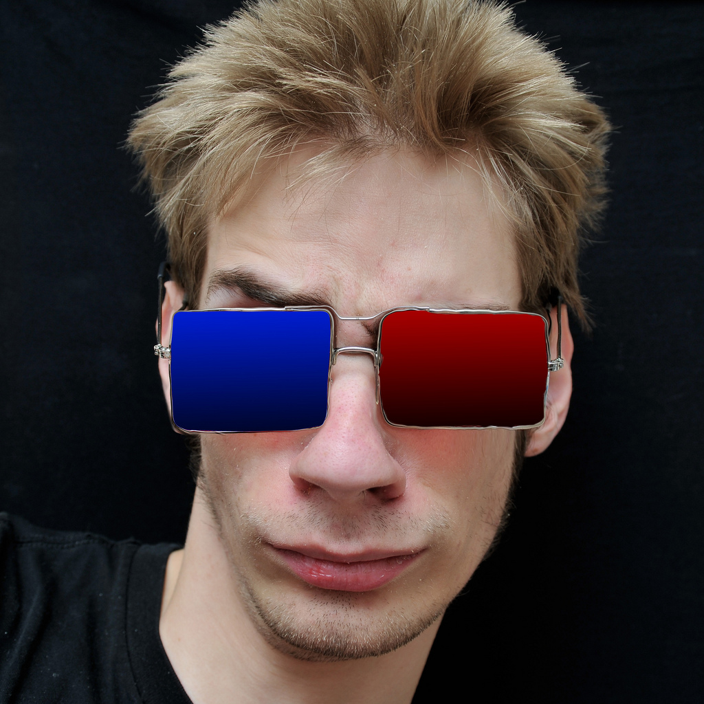 Teenager in 3D glasses