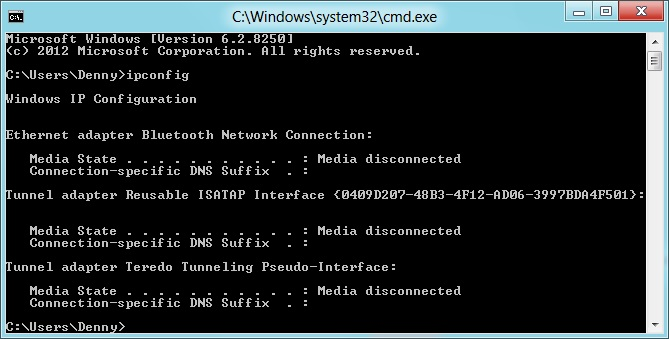 In the network adapter window in the control panel all pictures can be