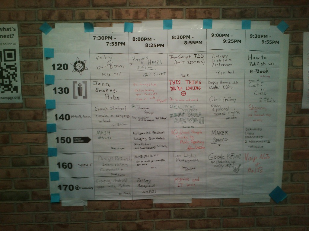 Completed BarCamp Schedule