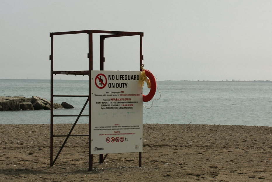 No lifeguard on beach sign