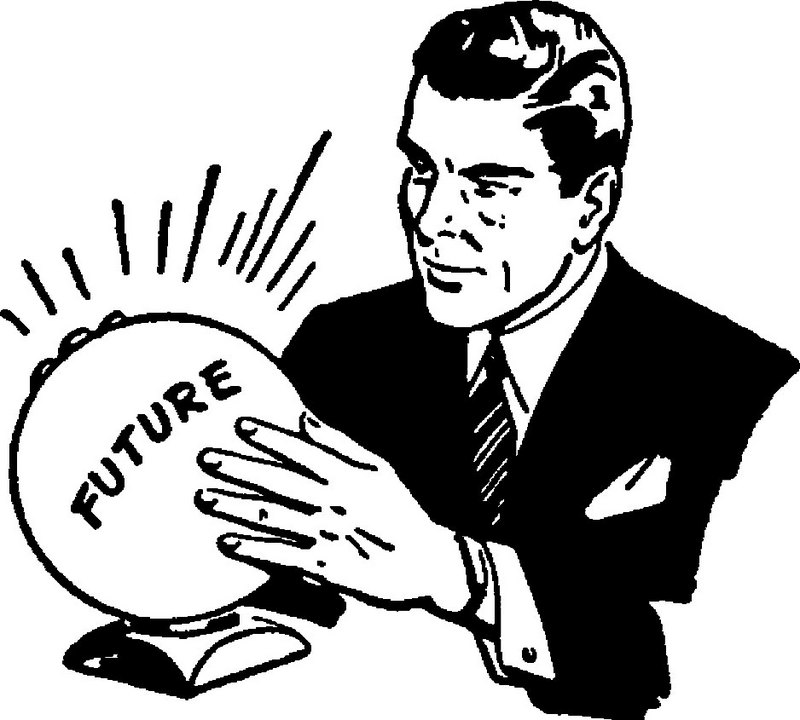 Man with a crystal ball to predict the future