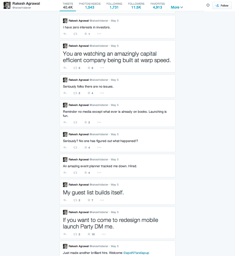 A small section of Rocky's Tweets from 5 May 2014