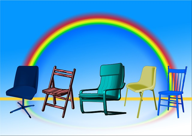 five chairs with a rainbow