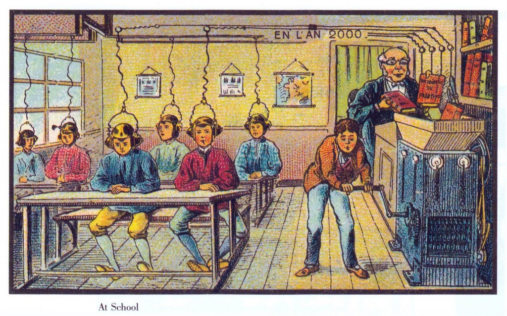 19th century image of machine connected to student's heads.