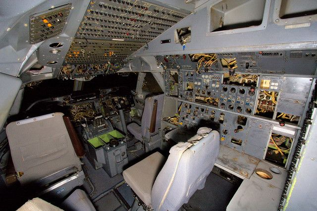 An abandoned flight deck for a 747 Jet airliner.