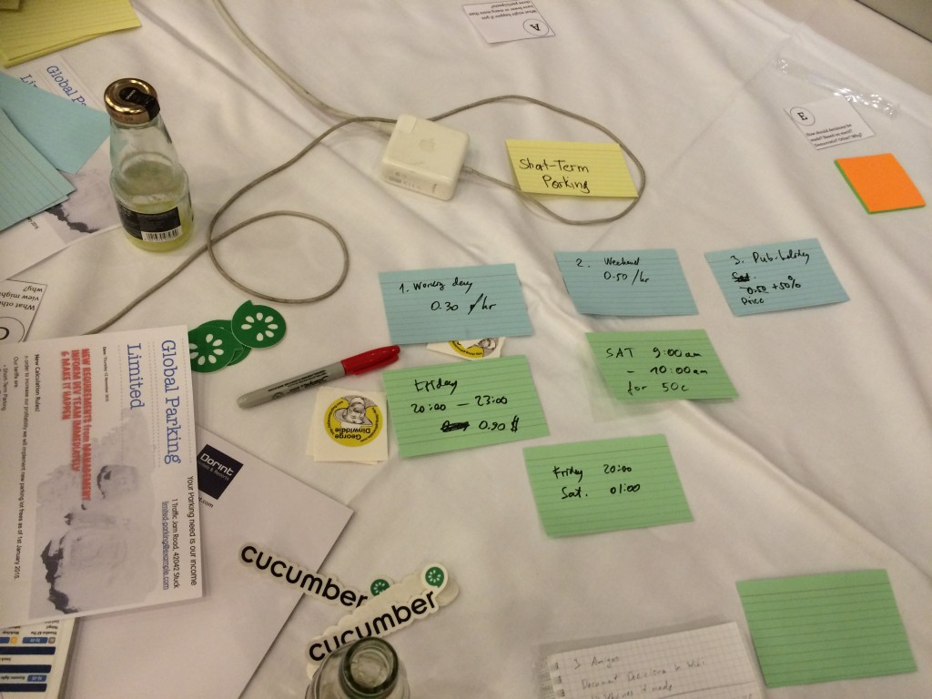 A set of sticky notes showing how example mapping can be done.