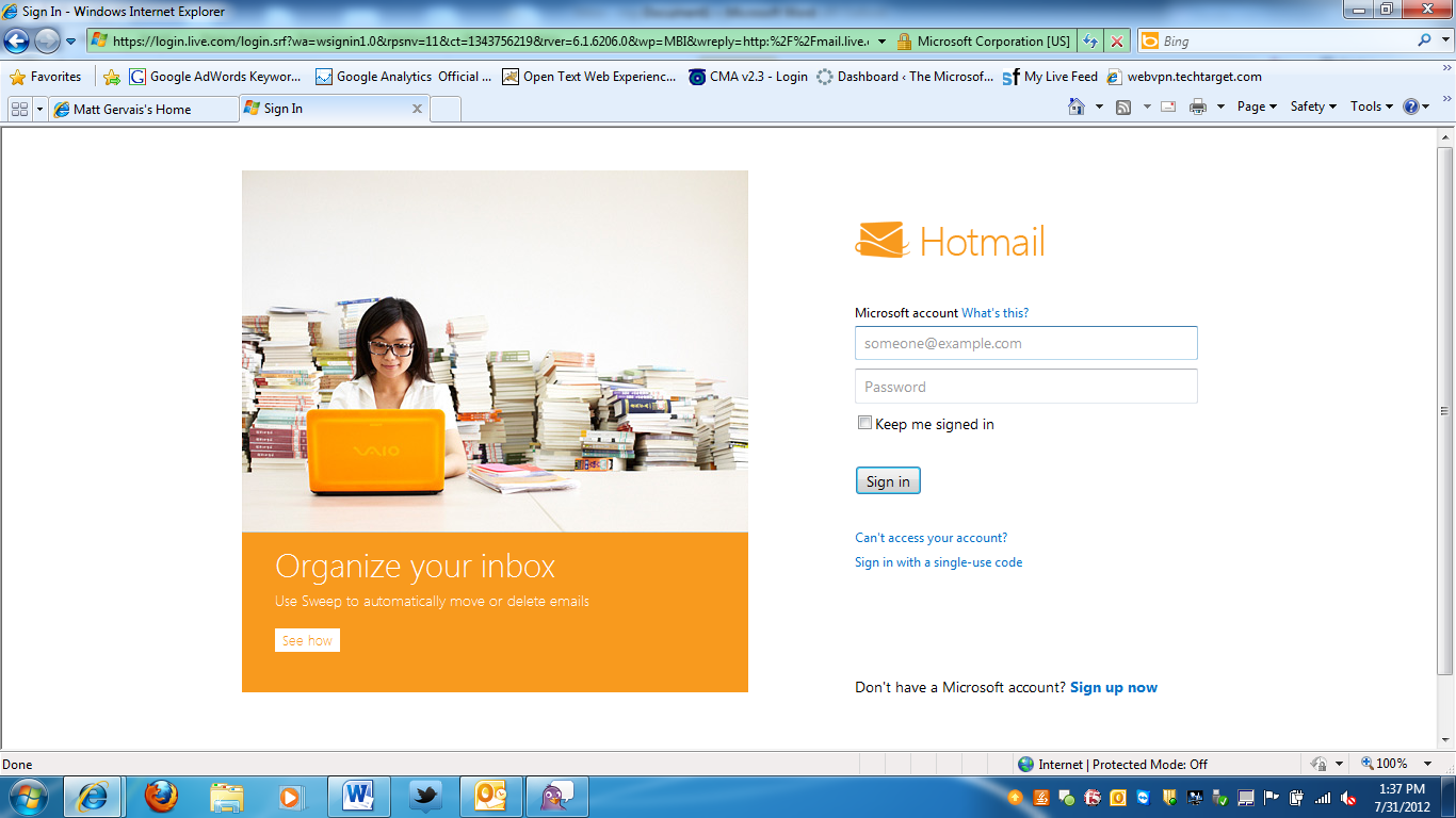 hotmail.com homepage