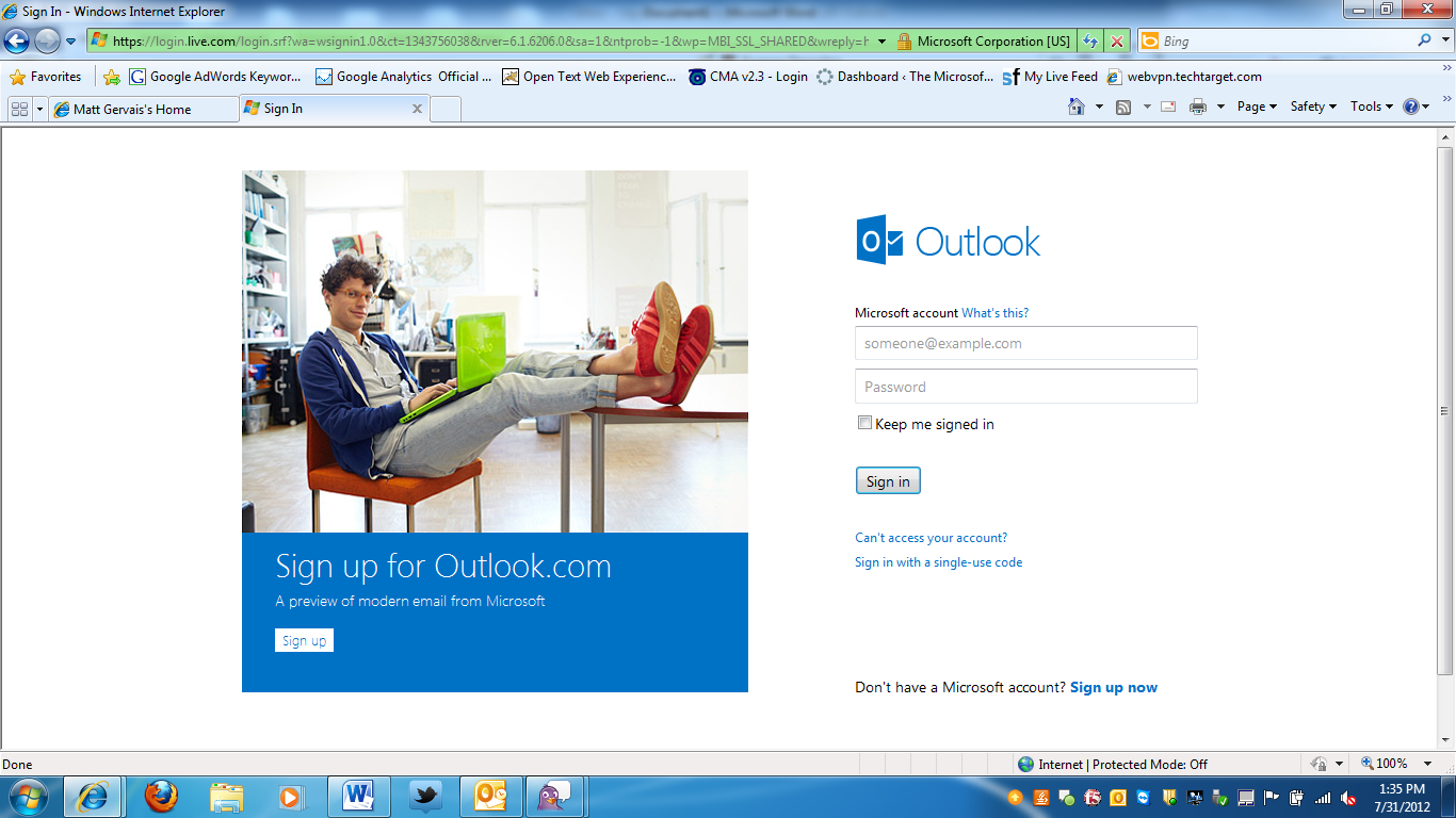 Outlook.com homepage