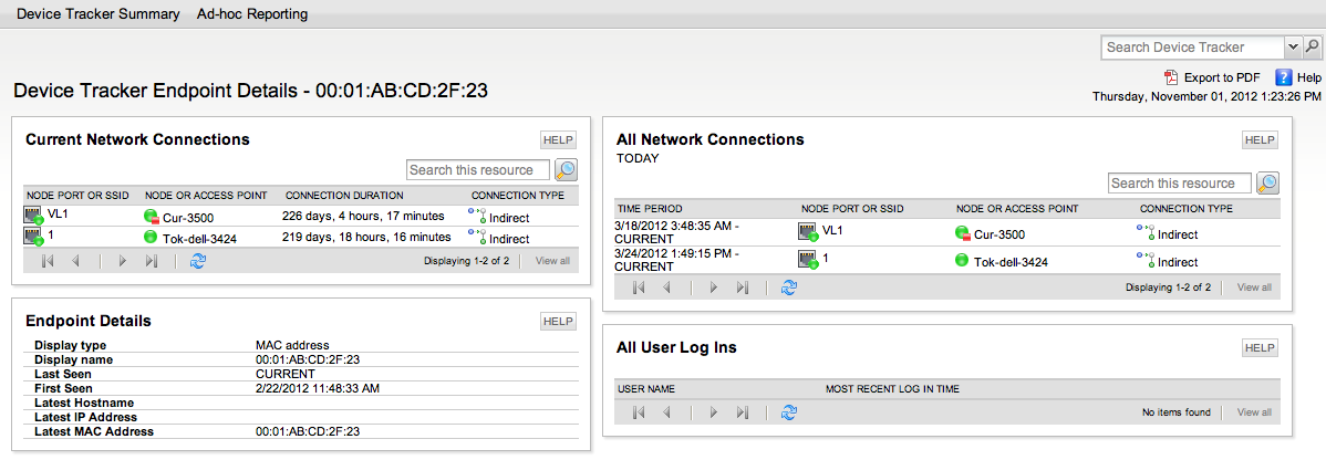 SolarWinds User Device Tracker Endpoint Details