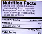 Ingredient label