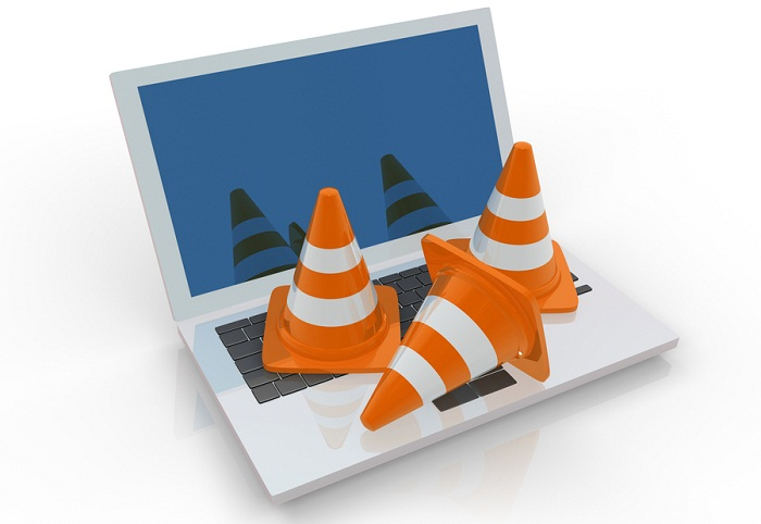 Image of work cones on computer