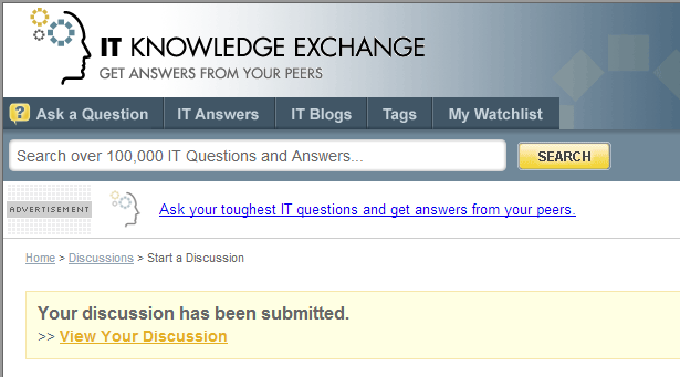 Discussion confirmation page