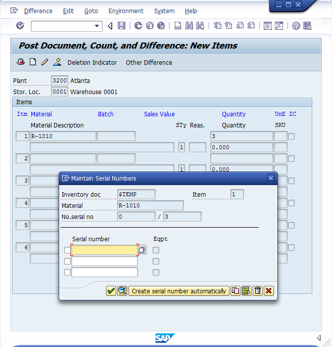 MI10 Data Entry Screen
