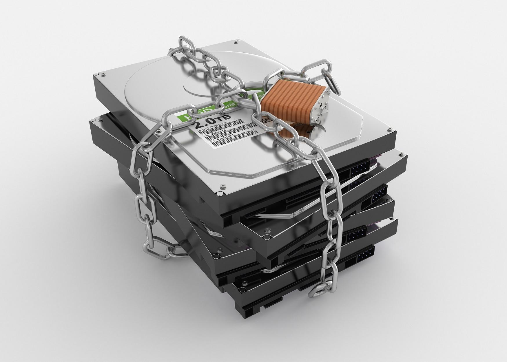 harddisk and padlock