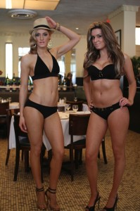 Models show off the latest fashions at a swimsuit show at Brasserie Jo Boston in 2014.