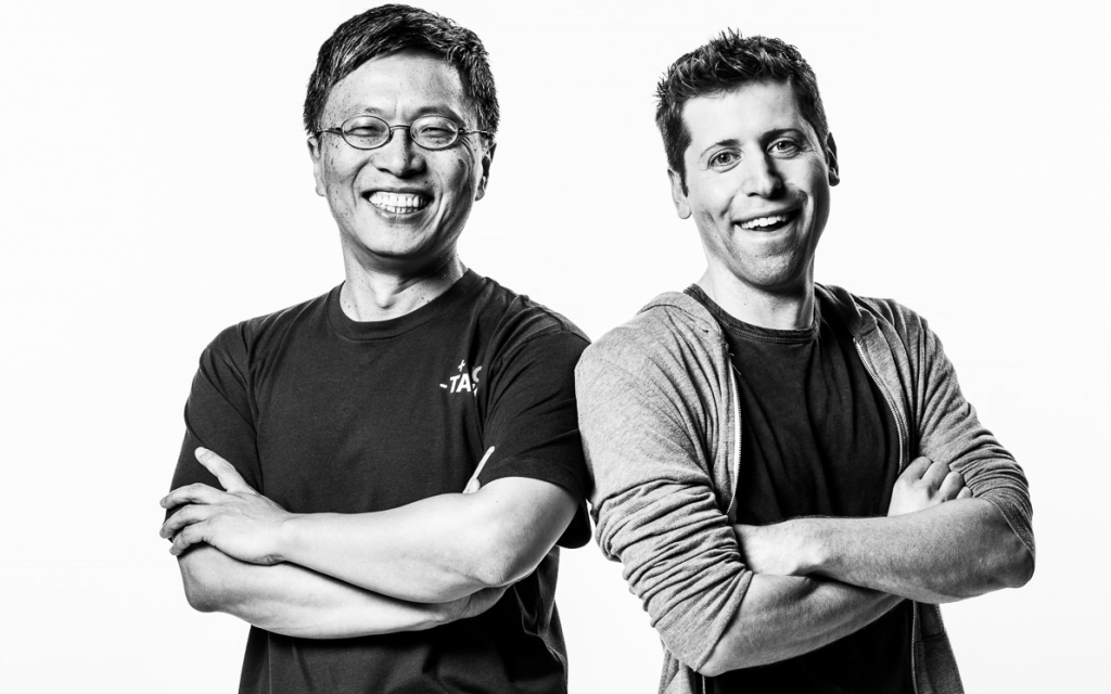 Harry Shum, Microsoft AI and Research Group executive vice president, and Sam Altman, co-chair of OpenAI. (Photo by Brian Smale)