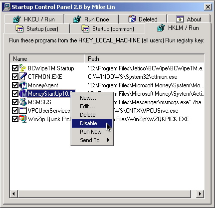 Startup Control Panel window