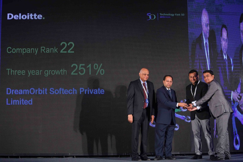 Sanchit Jain, CEO, DreamOrbit (2nd from Right) receiving the Deloitte Technology Fast50 India 2015 Award
