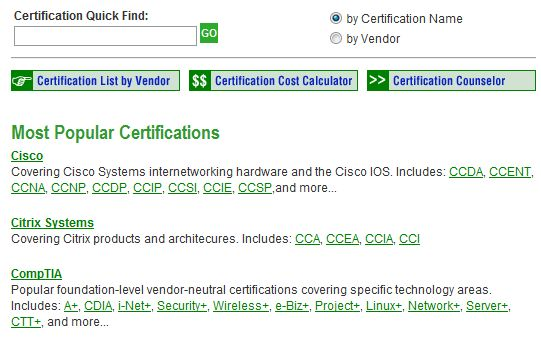GoCertify Certification Search Tool