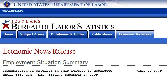 Banner from November 09 Employment Situation Summary