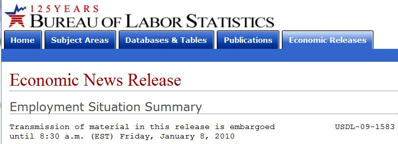 US Bureau of Labor Statistics December 2009 Employment Situation